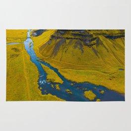 Scandinavian Grassland Landscape Dark Navy Rivers Aerial View photo Rug