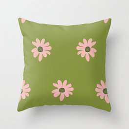 Colorful retro home decor and textile design flower pattern on olive Throw Pillow