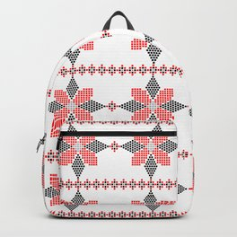 Traditional Romanian folk art knitted embroidery pattern Backpack