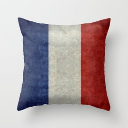 Flag of France, vintage retro style Throw Pillow