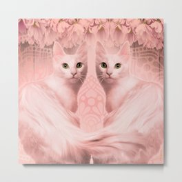 """""""Pink Pastel Doppelganger Cats at the Garden"""" Metal Print"""