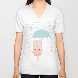 pink ice cream, ice lolly holding an umbrella. Kawaii with pink cheeks and winking eyes Unisex V-Neck