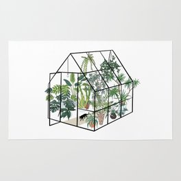 greenhouse with plants Rug