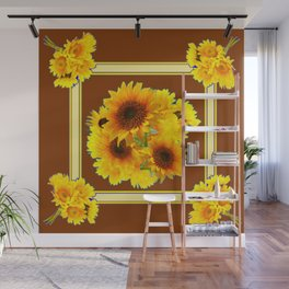 CHOCOLATE BROWN YELLOW SUNFLOWER BOUQUETS Wall Mural