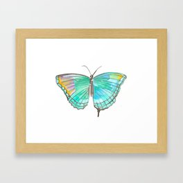 Fluidity Turquoise Watercolor Butterfly  Framed Art Print