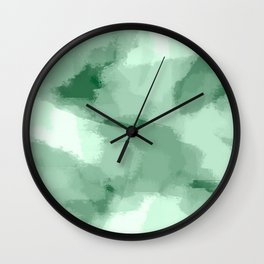 Saige - Green abstract art Wall Clock