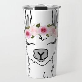 Floral Crown Llama Travel Mug
