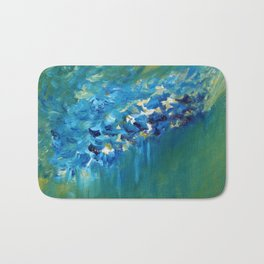 Blue and Green Abstract Bath Mat