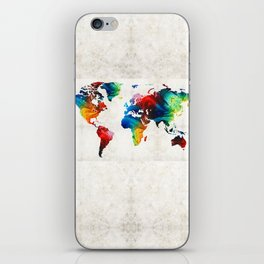 World Map 19 - Colorful Art By Sharon Cumming iPhone Skin