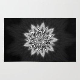 Black Ice Mandala Swirl Rug