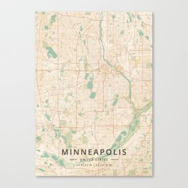 Minneapolis, United States - Vintage Map Canvas Print