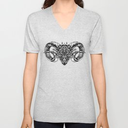 Zentangle Aries (Ram head) Unisex V-Neck