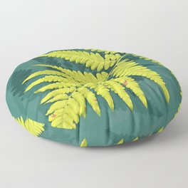 From the forest - lime green on teal Floor Pillow