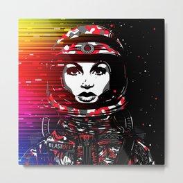 Astronaut Chick Metal Print