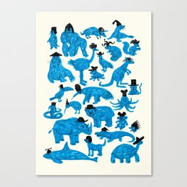 Blue Animals Black Hats Canvas Print