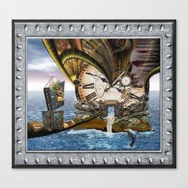 Steampunk Ocean Dragon Library Canvas Print
