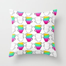 Tea Cup Pattern Throw Pillow