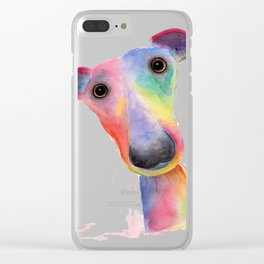 Nosey Dog Whippet / Greyhound ' HANK ' by Shirley MacArthur Clear iPhone Case