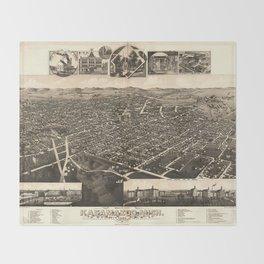 Bird's Eye View of Kalamazoo, Michigan (1883) Throw Blanket