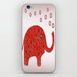 Red Circles Elephant iPhone Skin