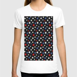 Bold Patriotic Stars In Red White and Blue on Black T-shirt