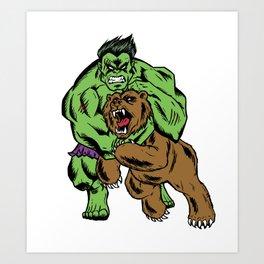 Hulk vs. Bear Art Print
