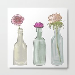 flowers in glass bottles . Pastel ( https://society6.com/totalflora/collection ) Metal Print