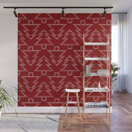 Merry Christmas- Abstract christmas tree pattern on festive red Wall Mural