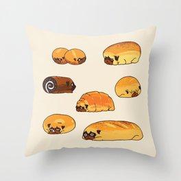 Bread Pugs Throw Pillow