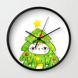 Christmastree kitty Wall Clock