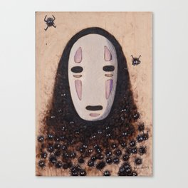 No Face - Spirited Away with Soot sprites (Susuwatari) Canvas Print