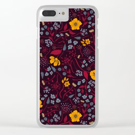 Mustard Yellow, Burgundy & Blue Floral Pattern Clear iPhone Case