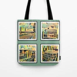 Kansas City Landmarks in Retro Fifties Style Tote Bag