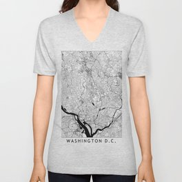 Washington Black and White Map Unisex V-Neck