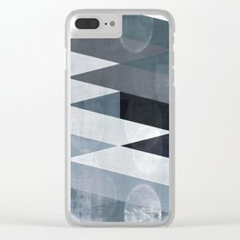 blue abstract, abstract art, office art, contemporary art, geometric print, modern painting, mid cen Clear iPhone Case