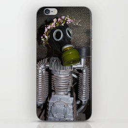 Household robot with gasmask iPhone Skin