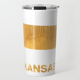 Kansas map outline Sandy brown clouded watercolor Travel Mug