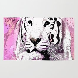TIGER WHITE WITH CHERRY BLOSSOMS PINK Rug