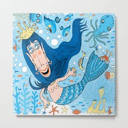 Quirky Mermaid with Sea Friends, Blue version Metal Print