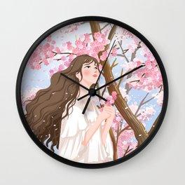 Girl In Flower Sea Wall Clock