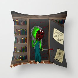 That Night in the Library Throw Pillow