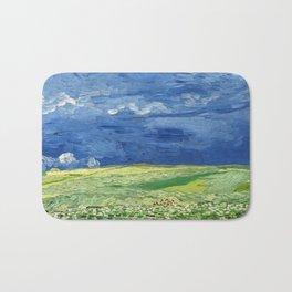 Wheatfield under thunderclouds by Vincent van Gogh Bath Mat