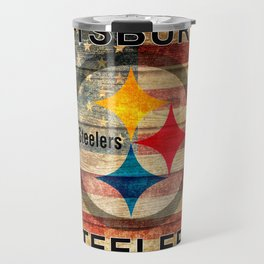 Steelers poster with vintage US flag in the background soc4 Travel Mug