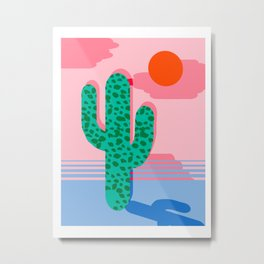 No Foolin - retro throwback neon art design minimal abstract cactus desert palm springs southwest  Metal Print