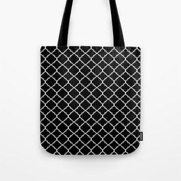 Black and White Moroccan Quatrefoil Tote Bag