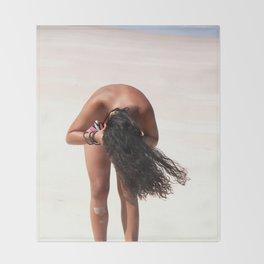 Girl on the Beach Throw Blanket