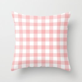 Coral Checker Gingham Plaid Throw Pillow