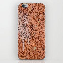 fall vibes orange doodle acrylic wood board iPhone Skin