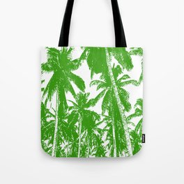 Palm Trees Design in Green and White Tote Bag