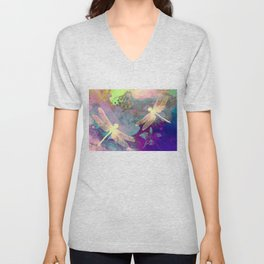Painting Dragonflies and Orchids A Unisex V-Neck